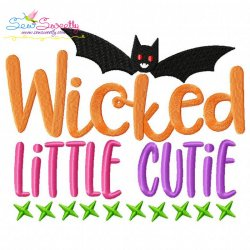 Wicked Little Cutie Halloween Lettering Embroidery Design