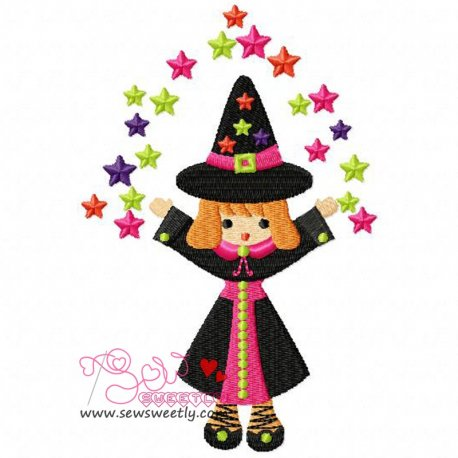 Cute Halloween Witch-2 Embroidery Design Pattern- Category- Halloween Designs- 1