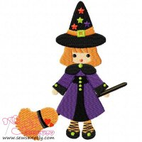 Cute Halloween Witch-1 Embroidery Design