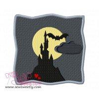 Spooky Castle Embroidery Design