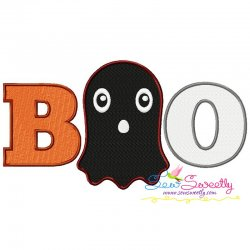 Boo Ghost Halloween Lettering Embroidery Design