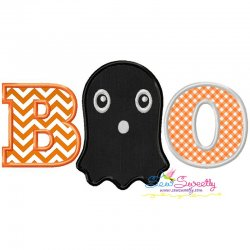 Boo Ghost Halloween Lettering Applique Design