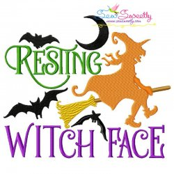 Resting Witch Face Halloween Lettering Embroidery Design