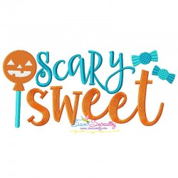 Scary Sweet Halloween Lettering Embroidery Design