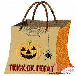 Trick or Treat Bag Embroidery Design