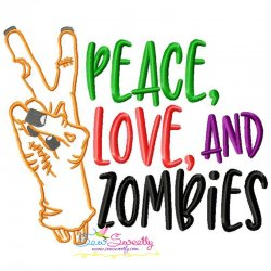 Peace Love Zombies Halloween Lettering Embroidery Design