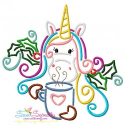 Christmas Unicorn Coffee Embroidery Design