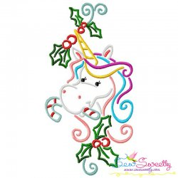 Christmas Unicorn Candy Cane Embroidery Design