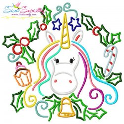 Christmas Unicorn Bell Embroidery Design