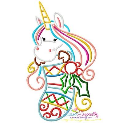 Christmas Unicorn Stocking Embroidery Design