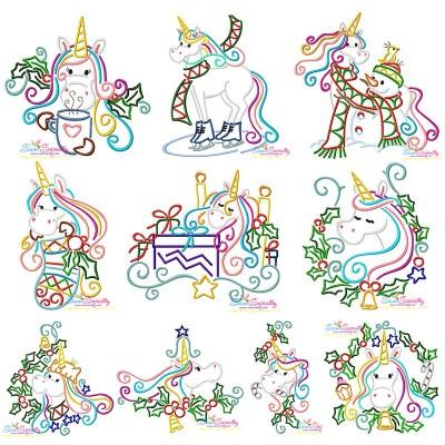 Christmas Unicorns Embroidery Design Bundle