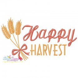 Happy Harvest Lettering Embroidery Design