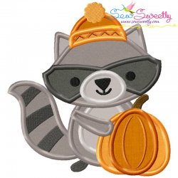 Cute Fall Raccoon Applique Design