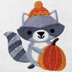 Cute Fall Raccoon Embroidery Design
