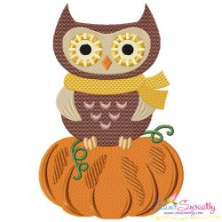 Owl on Pumpkin Embroidery Design