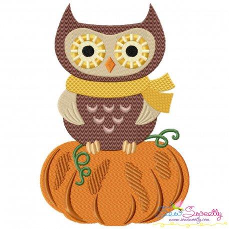 Owl on Pumpkin Embroidery Design