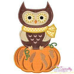 Owl on Pumpkin Applique Design Pattern- Category- Fall And Thanksgiving- 1