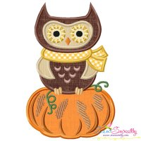 Owl on Pumpkin Applique Design