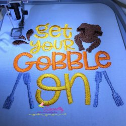 Get Your Gobble On Lettering Embroidery Design