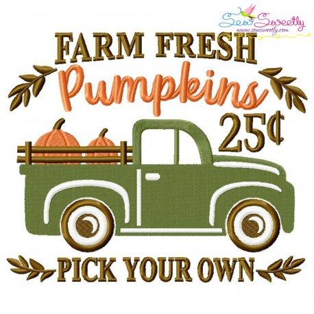 Farm Fresh Pumpkins Truck Lettering Embroidery Design