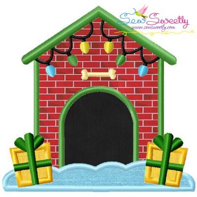 Christmas Dog House Applique Design