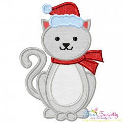 Christmas Cat Applique Design