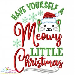Have Yourself a Meowy Christmas Lettering Embroidery Design
