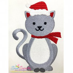 Christmas Cat Embroidery Design