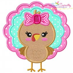Girl Turkey Applique Design Pattern- Category- Fall And Thanksgiving- 1