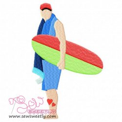 Ready For Surfing Embroidery Design