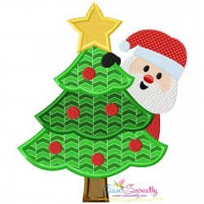 Santa Christmas Tree- Peeker Applique Design