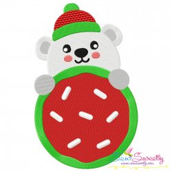 Polar Bear Cookie- Peeker Embroidery Design