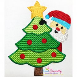 Santa Christmas Tree- Peeker Embroidery Design