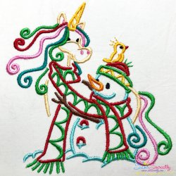 Christmas Unicorn And Snowman Embroidery Design Pattern- Category- Christmas Designs- 1