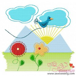Spring Scene Embroidery Design