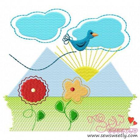 Spring Scene Embroidery Design