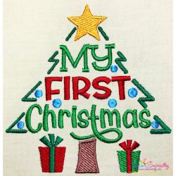 My First Christmas Lettering Embroidery Design