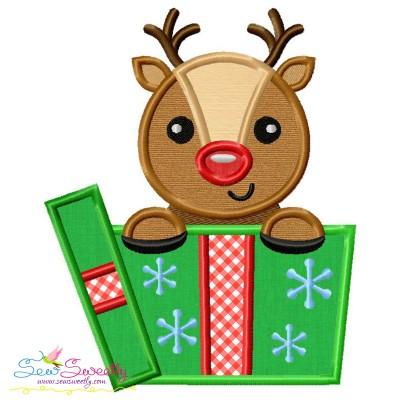 Reindeer Gift- Peeker Applique Design