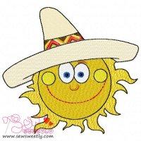 Sun With Sombrero Hat Embroidery Design
