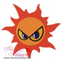 Angry Sun Embroidery Design
