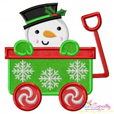 Snowman Wagon- Peeker Applique Design