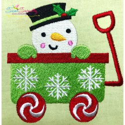 Snowman Wagon- Peeker Embroidery Design
