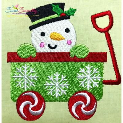 Snowman Wagon- Peeker Embroidery Design