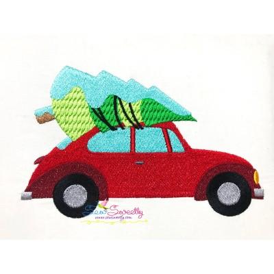 Christmas Bug Car- Tree Embroidery Design