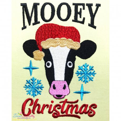 Mooey Christmas Cow Embroidery Design Pattern- Category- Christmas Designs- 1