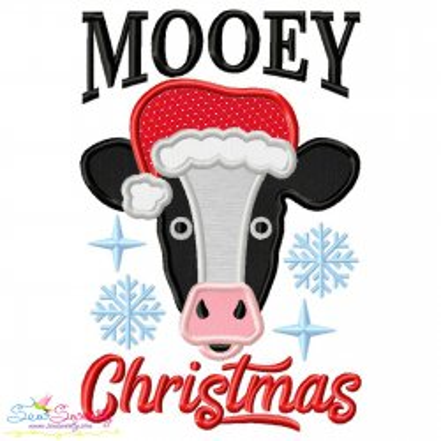 Mooey Christmas Cow Applique Design