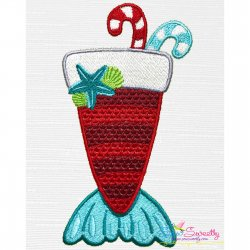 Christmas Mermaid Drink Embroidery Design