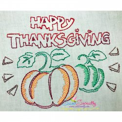 Color Work Happy Thanksgiving Pumpkins Bean/Vintage Stitch Machine Embroidery Design Pattern- Category- Fall And Thanksgiving- 1