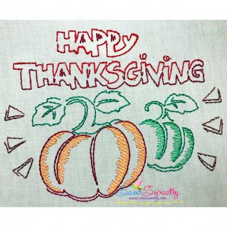 Happy Thanksgiving Pumpkins Bean/Vintage Stitch Machine Embroidery Design