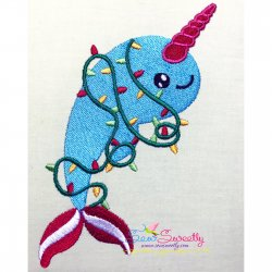 Christmas Unicorn Dolphin Embroidery Design